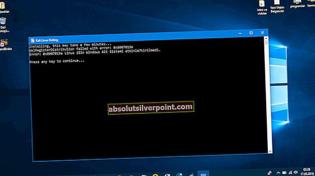 Fix: WSLRegisterDistribution mislykkedes med fejl: 0x8007019e